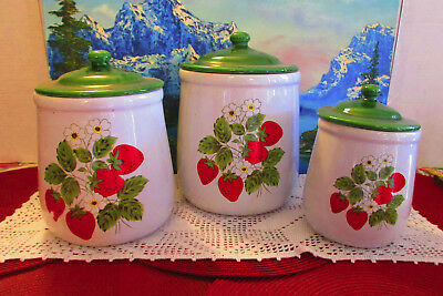 Set of 3 Vintage Nelson McCoy Pottery Strawberry Country Lidded Canisters