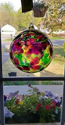 Kitras Art Glass, Hand Blown Calico Ball (NOS) with box and tag. Very Nice!