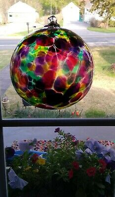 Kitras Art Glass, Hand Blown Caico Ball (NOS) with box & tag, Beautiful colors.