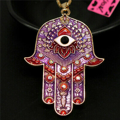 Betsey Johnson Purple Rhinestone Magic Ancient Egypt Eyes Palm Pendant Necklace
