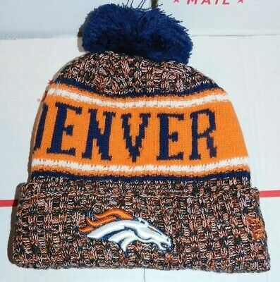 d11e61d1f75 Denver Broncos New Era Knit Hat On Field 2018 Sideline Beanie Stocking Cap  Blue