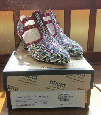 d1278eeb9b3 NIB  1890 GUCCI Strass Crystal Embellished Satin T Strap Pumps 38.5 US 8.5