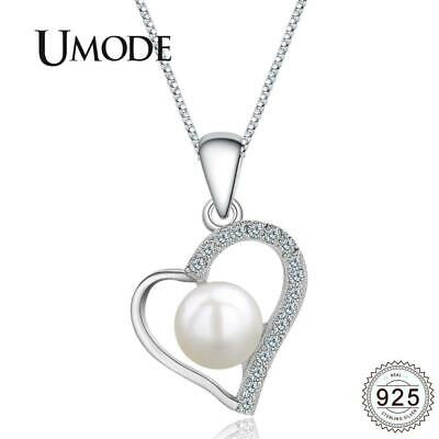 UMODE 925 Sterling Silver Chain Necklace & Heart Shape Freshwater Pearl {}