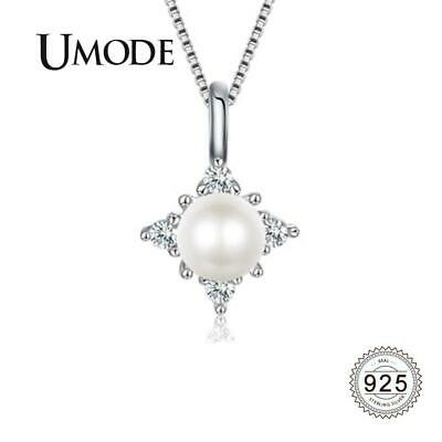 UMODE 925 Sterling Silver Chain Fresh Water Pearl Necklace {}