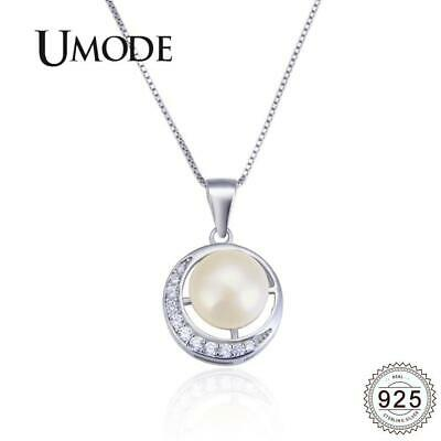 UMODE 925 Sterling Silver Freshwater Pearl Moon Necklace {}