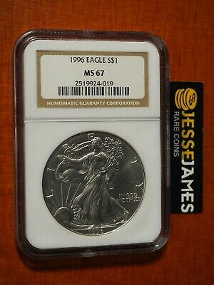 1996 $1 American Silver Eagle Ngc Ms67 Classic Brown Label