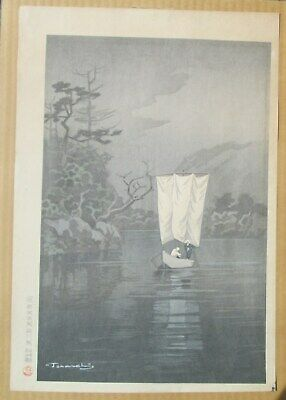 Japanese Woodblock by TANANCHI Boat On River 20th Century. MAKE OFFER SALE!
