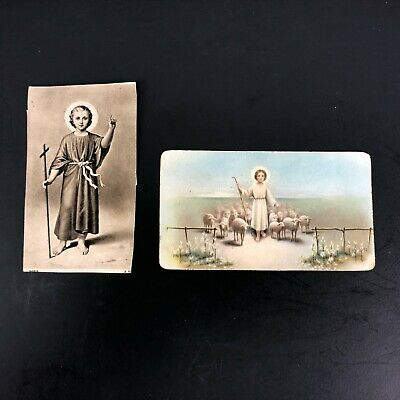 Vintage Holy Card Lot of 2 Young Jesus Shepherd Staff Antique Child Sheep Flock