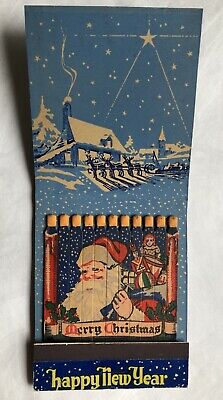 Rare Vintage Matchbook Large Feature Christmas Xmas Happy New Year - Roanoke