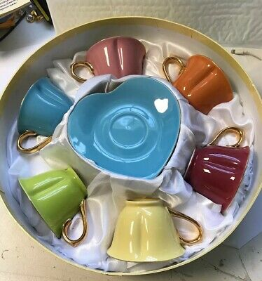Yedi Houseware: Classic Coffee & Tea Inside Out Heart Cups & Saucers Set of 6