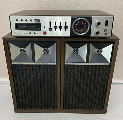 VINTAGE Electrophonic 8 Track AM FM Radio Air Suspension Speakers *NICE* Details