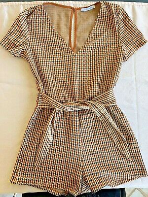 aba79cd70ae Women s zara shorts romper plaid jumpsuit playsuit trafaluc size Medium M