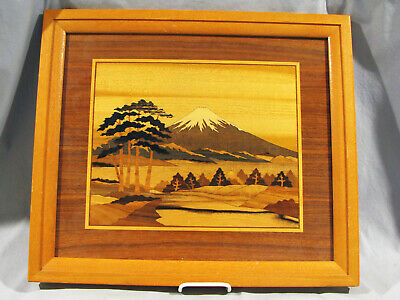 Vintage JAPANESE INLAID WOOD MARQUETRY PICTURE - MT. FUGI