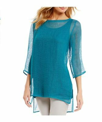 2e734dfac6  198 Eileen Fisher Missy Organic Linen Mesh Sheer Tunic Jewel Bateau Neck  Blue