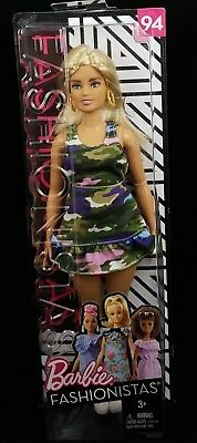 Barbie Fashionista Doll 94 – Curvy with Blonde Braids - Camo Dress with Earrings