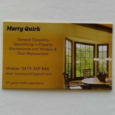 Marty Quirk Carpentry 0419369846 Business Card