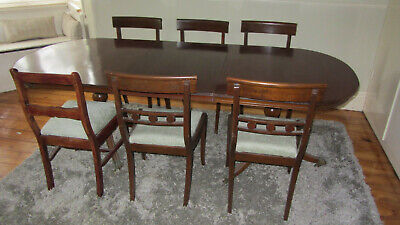 timber mid-century dining table extendable used including 6 chairs