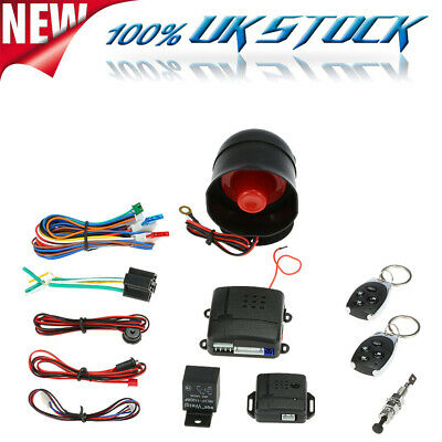 Car Alarm Central Locking Universal Security System Immobiliser & Shock Sensor
