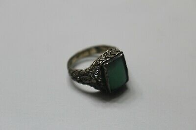 Wonderful Small Chinese Sterling Filigree Jade Stone Ring