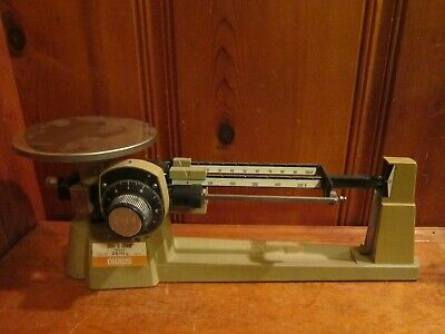 Vintage All Metal Ohaus Triple Beam Mechanical Balance Scale 2610g Dial O Gram