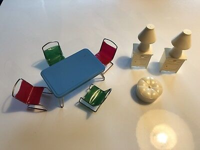 Mid Century Vintage Doll House Furniture Metal Vinyl Strap Chairs Made In Japan