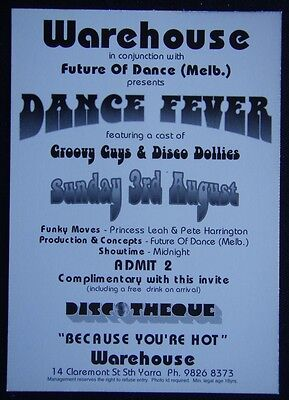 Warehouse Discotheque Dance Fever Sunday 3rd Aug Sth Yarra Advert (ADV17)
