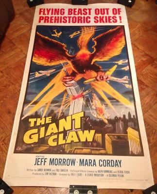 Monster Creature Horror Sci-Fi The Giant Claw Mara Corday 41X81 3-Sheet On Linen