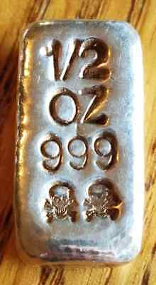 1/2 Troy Ounce .999 Fine Silver Bar - Skull & Cross Bones - Hand Poured