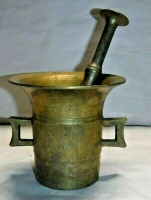 Antique Large Solid Brass Mortar & Pestle Apothecary Medical Pharmacy Herbal