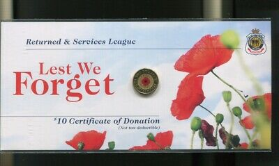 2012 $2  Red Poppy Lest We Forget UNC Coin on Original RSL Card #