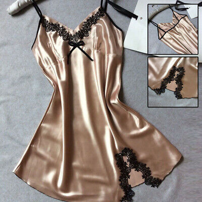 V collar Sleepwear Pajamas Nightdress Champagne Smooth Breathable Cost-effective