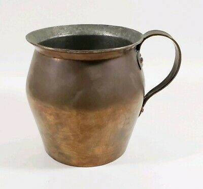 Antique Primitive Late 1800's Blacksmith Made Solid Copper Pitcher 6.5""