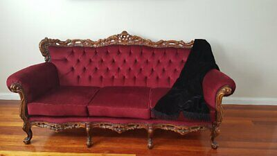 Antique French Louis Style Red Velvet Lounge Vintage Sofa Couch
