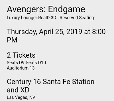 Avengers Endgame Movie Tickets April 25th 8:00PM XD 3D Century 16