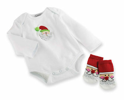 NWT Baby Boy/Girls 0-6M MUD PIE Northpole CRAWLER & BOOTIE SOCK Holiday Cotton