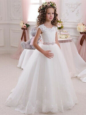47cd1adff119 Princess Half Sleeve Lace Flower Girl Dresses Kids Holy Wedding Communion  Gown