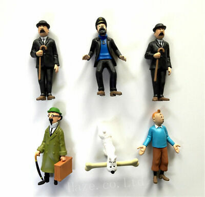 Set of The Adventures of Tintin PVC Figure Figurine Home Oranment 6pcs