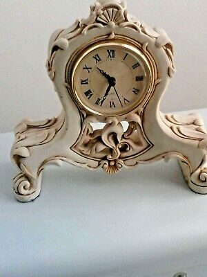 Vintage Mantel Clock By Academy  Heavy Good Time Keeper Clear Face