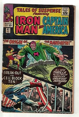 Marvel comics Tales of Suspense 62  Iron man Origin Mandarin  2.5 G+ avengers