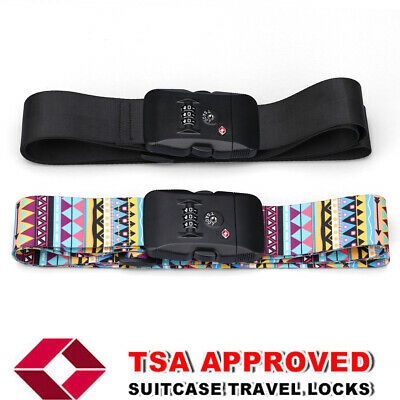 Heavy Duty TSA Password Travel Luggage Suitcase Secure Coded Lock 2M Belt Strap