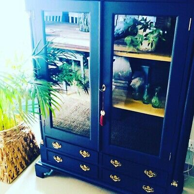 Original vintage French Armoire handpainted In Midnight Blue
