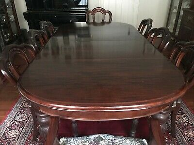 Mahogany large antique reproduction 2 leaf d end dining extension table