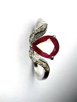 Antique 925 Solid Silver Victorian Ring Ruby Ring Red Color ring Diamond Ring