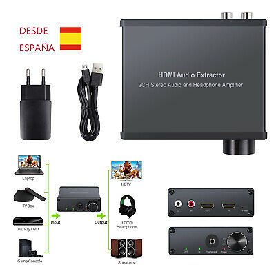 HDMI Audio Extractor Volume regulador Conversor HDMI aHDMI+RCA 3.5mm USB EU