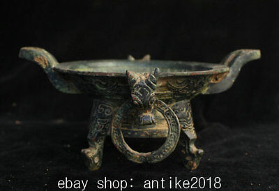 19CM Ancient Chinese Bronze Ware Dynasty Beast Ring Vessel Pot Jar Crock Bowl