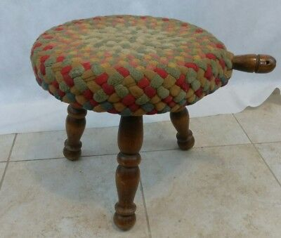 Antique Wooden Milking Stool 3 Legs/Handle/Authentic Vtg Americana Farm Decor