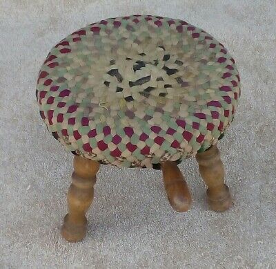 Antique Wooden 3 Leg Milking Stool Authentic Americana Farm Decor