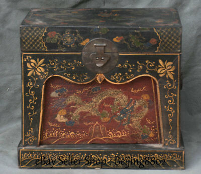 """15"""" Old Chinese Wood Lacquerware Painting Dynasty Dragon Treasure Chest Box"""