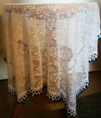 Beautiful Glass beaded table cloth vintage retro lace food cover.