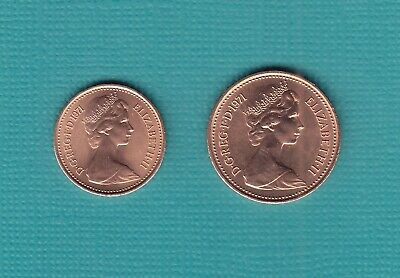 1971 1p One New Penny + 1/2p Half New Pence Coin, A Pair Of Uncirculated Coins